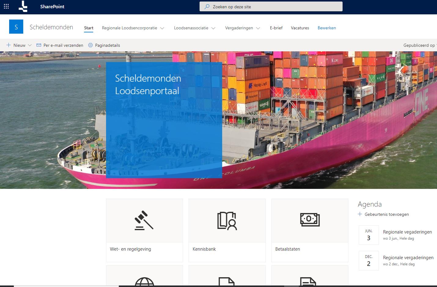SharePOint Online portal Nederlands Loodswezen